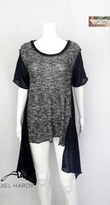 Фънки многофункционална плетена блуза в черно и бяло НЕ Е НАЛИЧНА