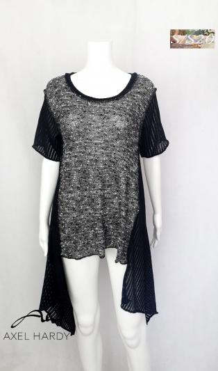 Фънки многофункционална плетена блуза в черно и бяло