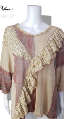 Фънки ленена плетена блуза със закачливи волани НЕ Е НАЛИЧНА В МОМЕНТА