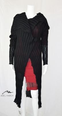 Черна модна плетена жилетка