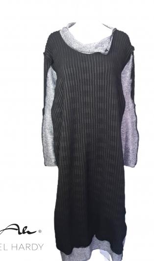Макси рокля от ефектно трико и плeтиво меланж