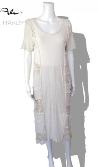 Лятна ленена плетена рокля в стилно екрю