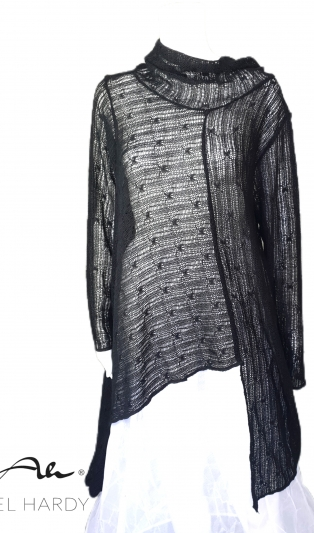 Икона блуза Тео в нежно прозрачно черно плетиво