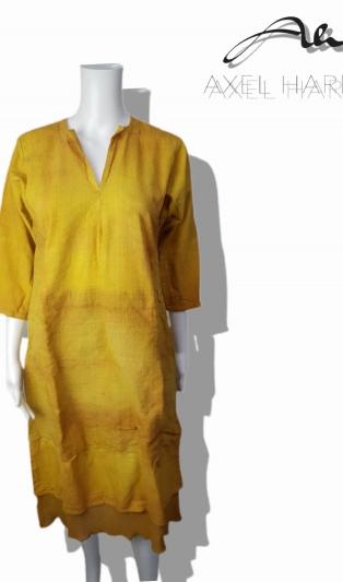 Винтидж еко рокля охра батик състарен ефект